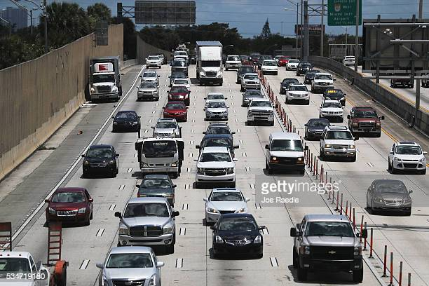 Vehicle traffic is seen on I95 as people prepare for the Memorial Day weekend on May 27 2016 in Miami Florida AAA is predicting 34 million Americans...