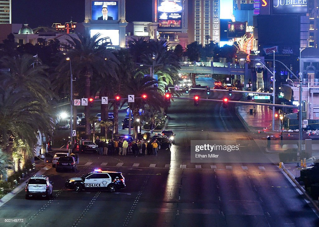 Vehicle traffic on the Las Vegas Strip is closed as police investigate the area after a car crashed into a group of pedestrians on the sidewalk in front of the Paris Las Vegas and Planet Hollywood Resort & Casino reportedly injuring at least 35 people and killing one on December 20, 2015 in Las Vegas, Nevada.