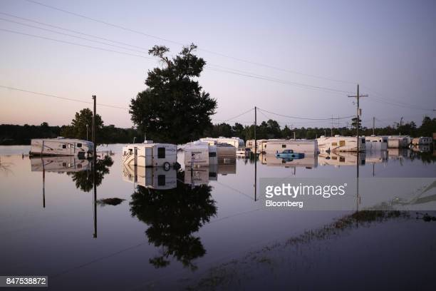 Vehicles and trailers are seen submerged in water at a trailer park flooded by Hurricane Harvey in Rose City Texas US on Wednesday Sept 6 2017...