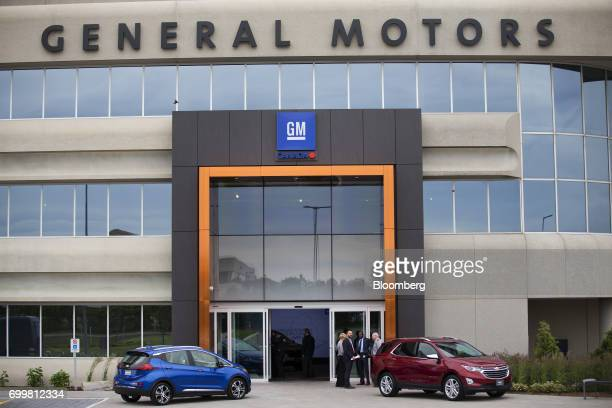 Vehicles are displayed outside of the General Motors Co Canadian Technical Centre in Markham Ontario Canada on Thursday June 22 2017 Canadian auto...