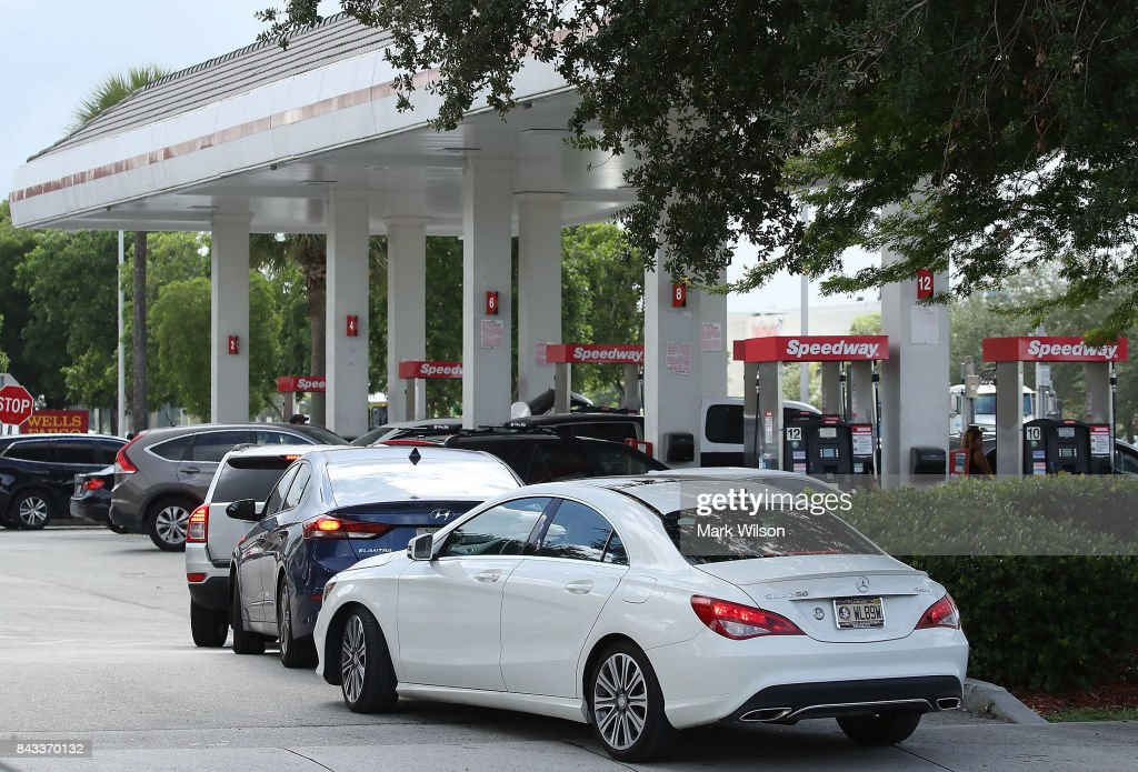 Vehicles are lined up at a gas station in hopes of getting gas to prepare for Hurricane Irma on September 6, 2017 in Doral, Florida. It's still too early to know where the direct impact of the hurricane will take place but the state of Florida is in the area of possible landfall.
