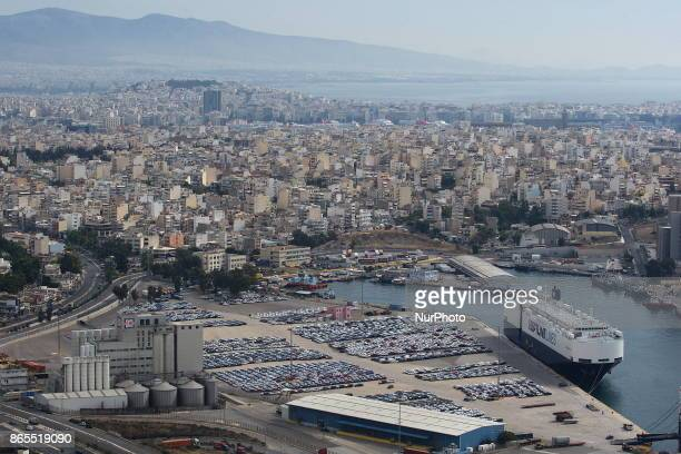Vehicles are parked at a cargo terminal at Piraeus port near Athens Greece Monday October 23 2017