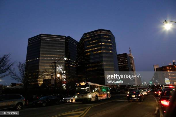 Vehicles are seen during rush hour at downtown on January 18 2018 in Newark New Jersey Amazon has released a shortlist for its muchanticipated second...