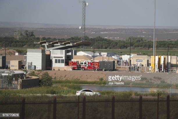 Vehicles are seen in front of the tent encampment recently built near the Tornillo Port of Entry on June 20 2018 in Tornillo Texas The Trump...