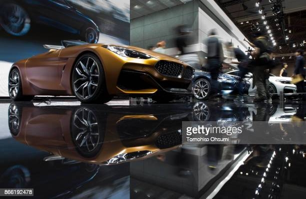 BMW vehicles are seen in the Bayerische Motoren Werke AG booth during the Tokyo Motor Show at Tokyo Big Sight on October 25 2017 in Tokyo Japan The...
