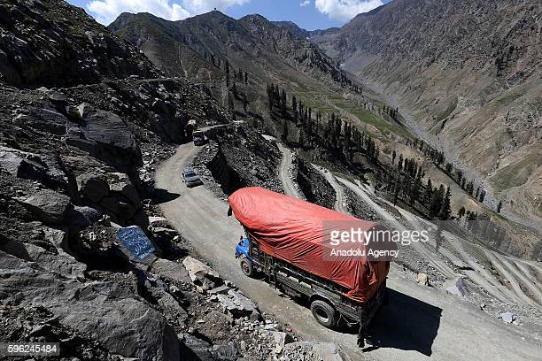 Vehicles are seen on the Lowari Mountain Pass which connects Chitral with Dir in KhyberPakhtunkhwa Pakistan on August 26 2016 Despite Lowari is one...