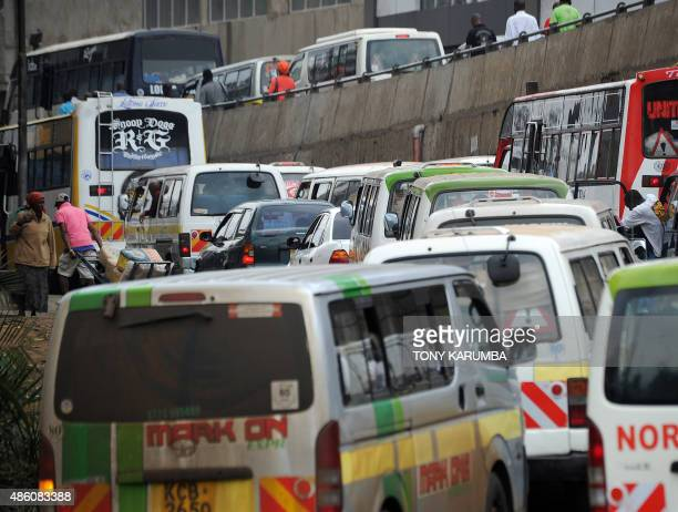 Vehicles are stuck in a traffic jam in Nairobi on August 31 2015 where preliminary test results collected by a groundbreaking air quality measuring...
