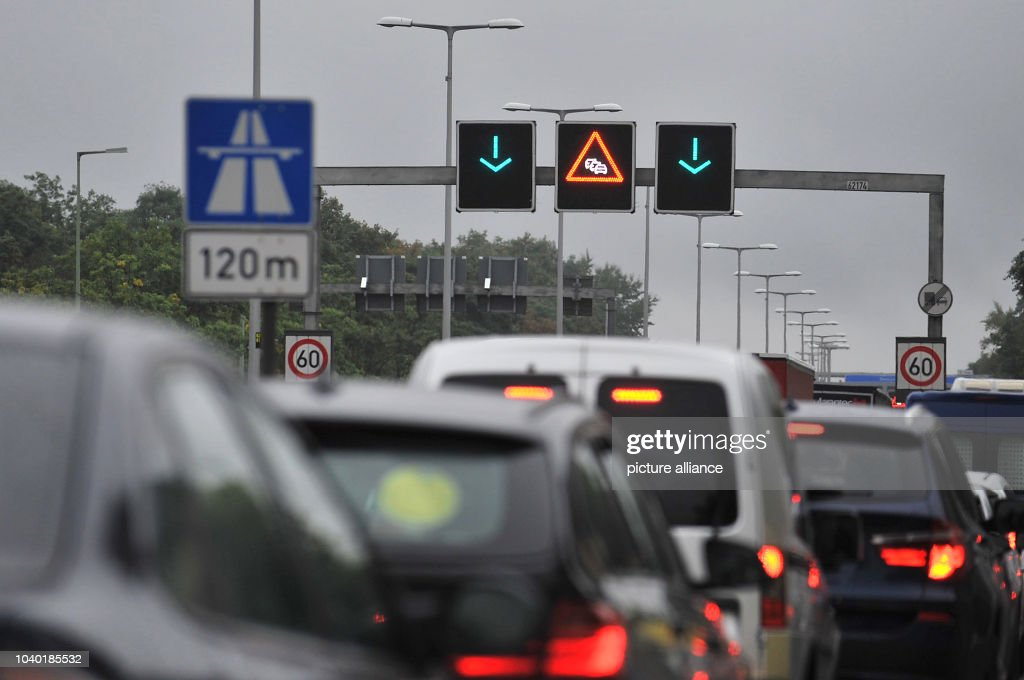 Vehicles become congested on Autobahn 111 in Berlin, Germany