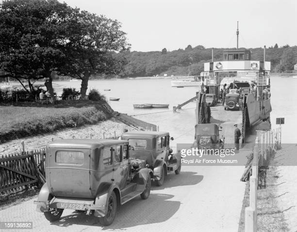 Vehicles boarding the Southern Railway ferry at Fishbourne for the crossing from the Isle of Wight back to Portsmouth 1932