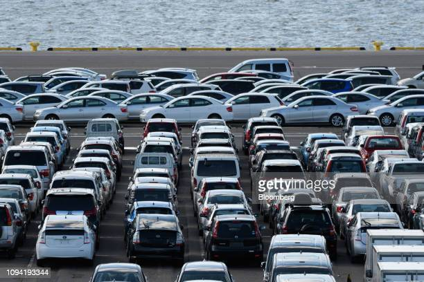 Vehicles bound for shipment sit at the Nagoya Port in Nagoya Aichi Prefecture Japan on Friday Feb 1 2019 Auto sales got off to a frosty start to the...