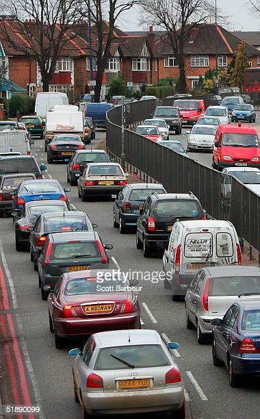 Vehicles come to a standstill in heavy traffic on the A40 as the Christmas getaway begins on December 23 2004 in London England Millions of Britons...