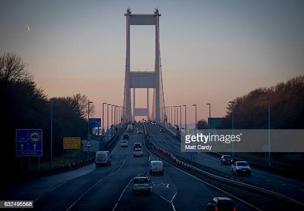 Vehicles cross from England into Wales along the M4 Second Severn Crossing on January 23 2017 in Bristol England The two Severn crossings The M48...