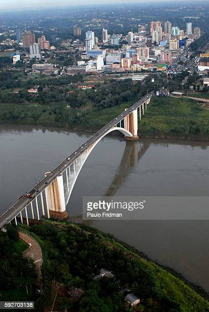 Vehicles cross Ponte da Amizade or the Friendship Bridge which links the border between Brazil and Paraguay