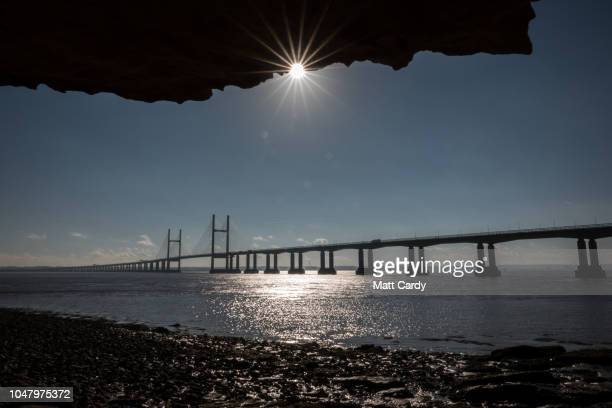 Vehicles cross the M4 Prince of Wales Bridge one of the two bridges that form the Severn Crossing on October 9 2018 in Chepstow Wales Last week at...