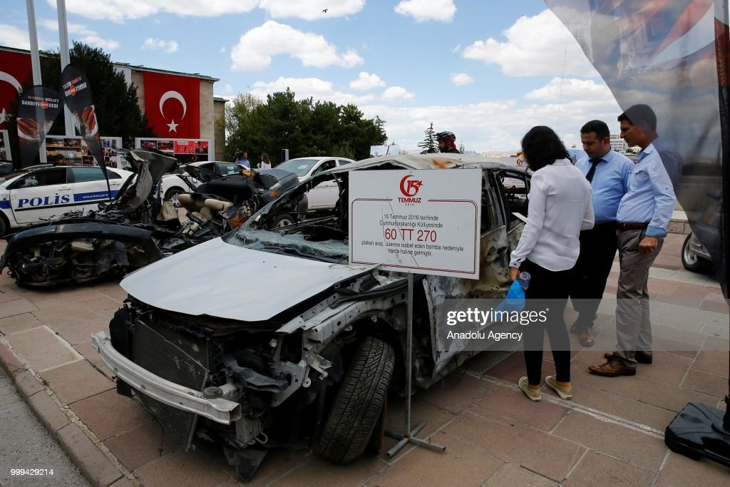 Vehicles damaged by tanks on July 15 defeated coup are