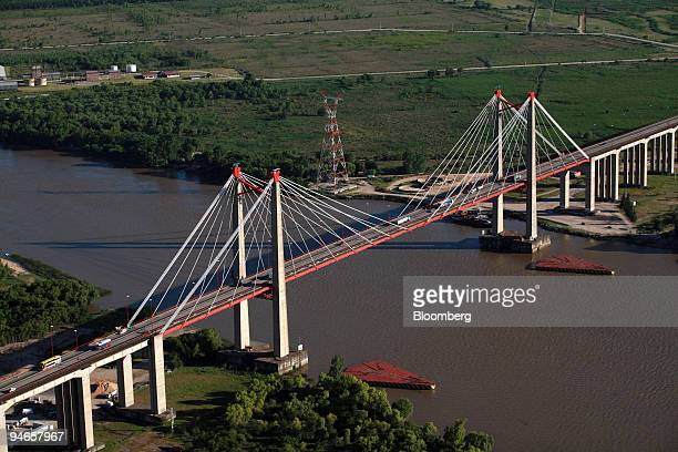 Vehicles drive on the ZarateBrazo Largo bridge that crosses the Parana river and links the Buenos Aires province with Entre Rios in Argentina on...