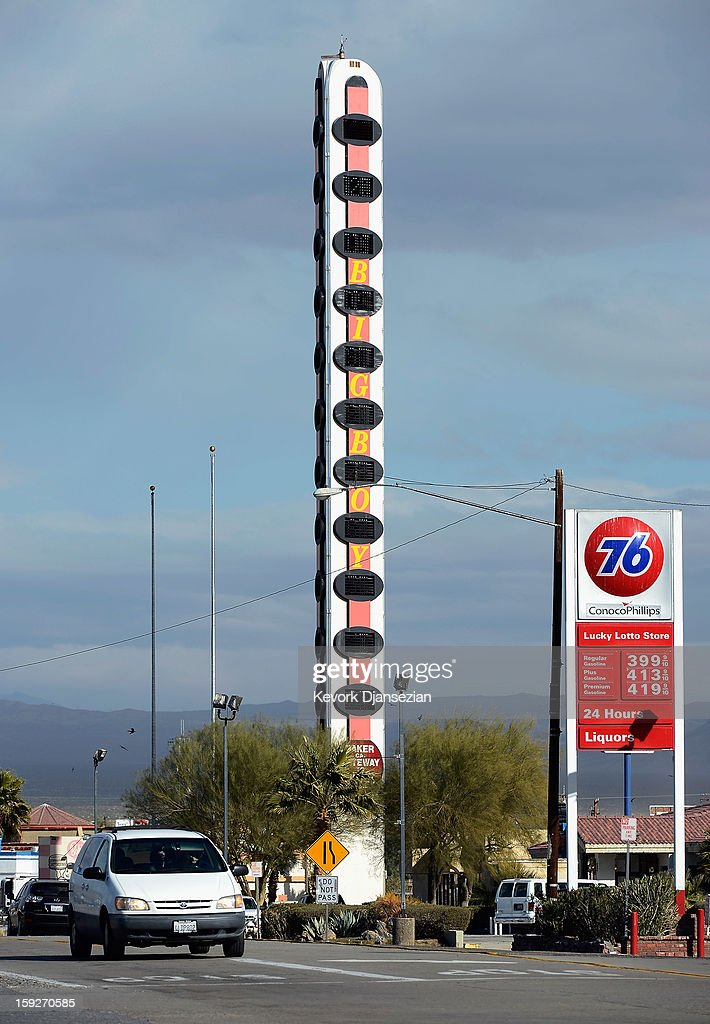 Vehicles drive past the world's tallest thermometer on January 10, 2013 in Baker, California. Erected in 1991 by a local businessman and measuring 134-feet in height to commemorate the United States' record temperature of 134 degrees Fahrenheit, the thermometer has been billed as the world's tallest. The current owner has now placed the landmark up for sale due to the burden of its running costs, setting an asking price of $1.75 million.