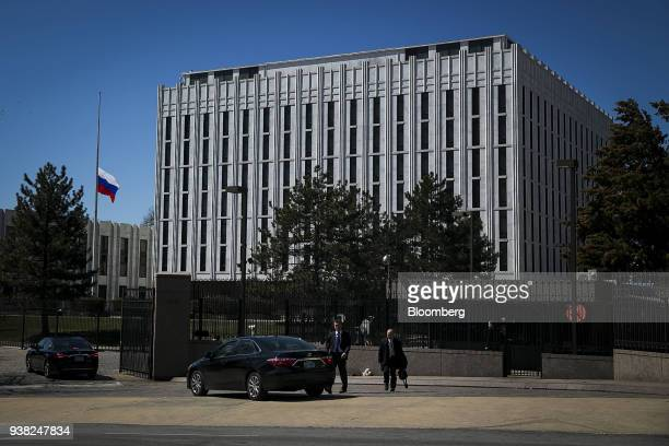 Vehicles enter the Russian Embassy in Washington DC US on Monday March 26 2018 PresidentDonald Trumpordered 60 Russian diplomats the US considers...