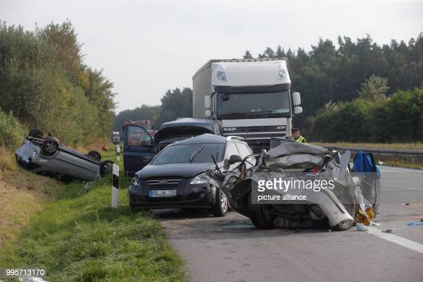 Vehicles involved in an accident on the A 19 motorway near Malchow Germany 30 September 2017 One person died and 19 others were injured in the...