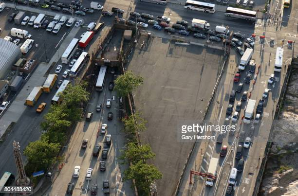 Vehicles line up to enter the Lincoln Tunnel at rush hour in New York City on June 28 2017