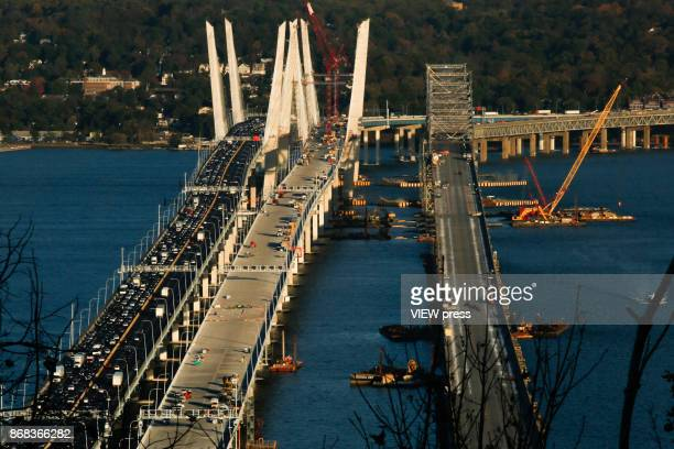 Vehicles move along the new Tappan Zee Bridge on October 27 2017 in South Nyack New York Tolls on the new Tappan Zee Bridge may have to hit the $10...