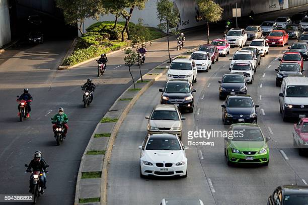 Vehicles move through traffic during morning rush hour on the Circuito Interior in Mexico City Mexico on Thursday Aug 11 2016 Mexico's push to reduce...