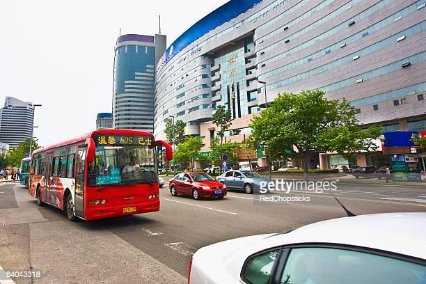 Vehicles moving on the road, Qingdao, Shandong Province, China