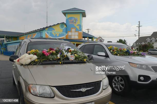 Vehicles of the victims of Thursday's Branson Duck Boat accident have been turned into a memorial on the parking lot for Ride The Ducks on July 20...