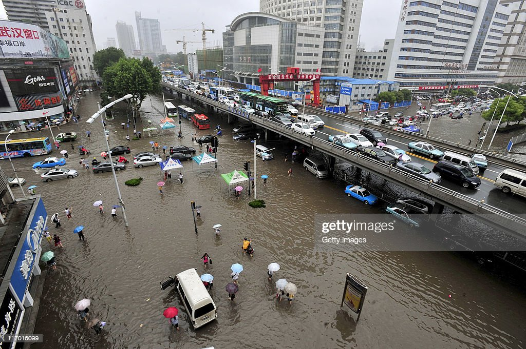 Vehicles pack a flooded street after heavy rainfall on June 18, 2011 in Wuhan, Hubei Province of China. A heavy rainstorm hit Wuhan on Saturday, causing flooding across the region.