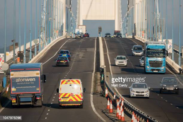 Vehicles pass across the M48 Severn Bridge one of the two bridges that form the Severn Crossing on October 9 2018 near Bristol England Last week at...
