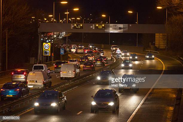 Vehicles pass along the M4 motorway close to the Tata steelworks on January 18, 2016 in Port Talbot, Wales. Tata Steel has confirmed today that it...