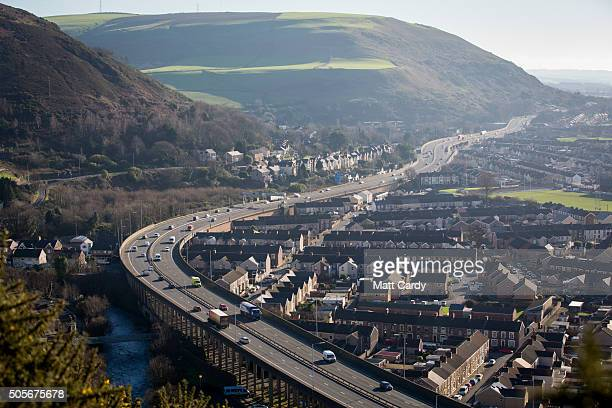 Vehicles pass along the M4 motorway on January 19, 2016 in Port Talbot, Wales. Tata Steel announced yesterday that it plans to cut 1,050 jobs in the...