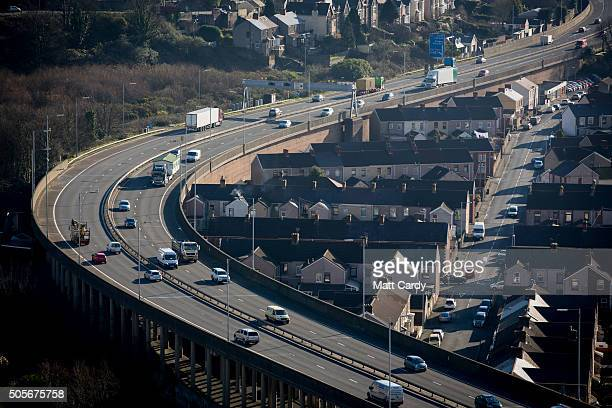 Vehicles pass along the M4 motorway on January 19 2016 in Port Talbot Wales Tata Steel announced yesterday that it plans to cut 1050 jobs in the UK...