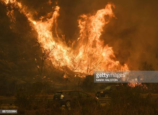 Vehicles pass beside a wall of flames on the 101 highway as it reaches the coast during the Thomas wildfire near Ventura California on December 6...