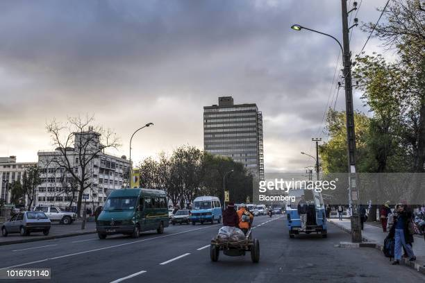 Vehicles pass in front of the Hotel Carlton center left in Antananarivo Madagascar on Tuesday July 24 2018 Madagascar's gross domestic product...
