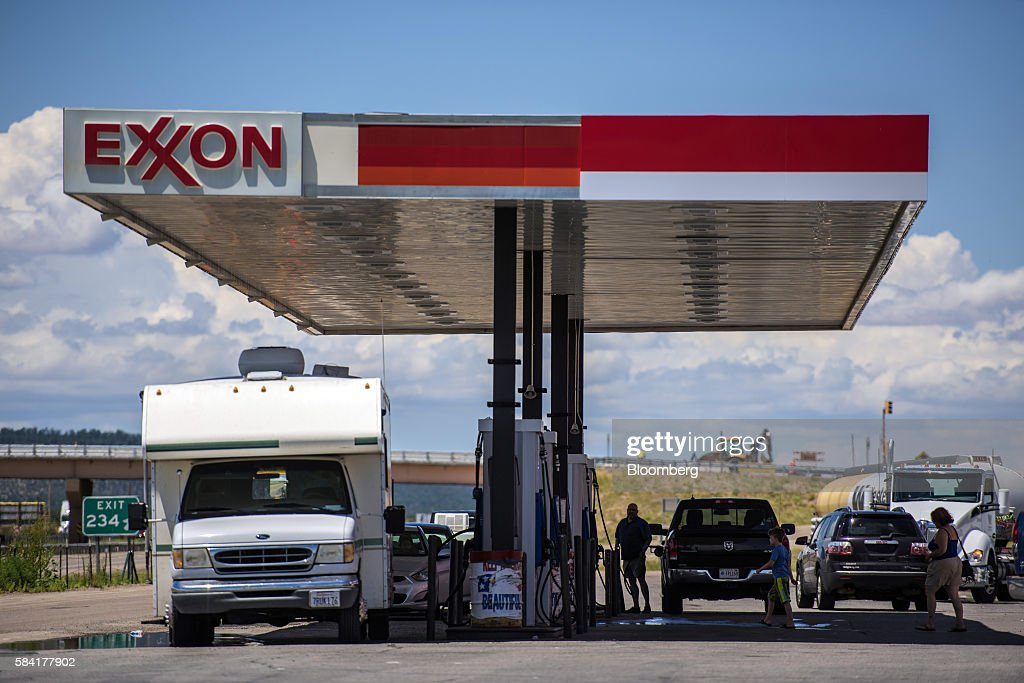 An Exxon Mobil Corp. Gas Station Ahead Of Earnings Figures : News Photo