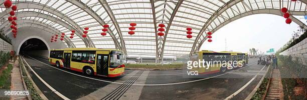 Vehicles run cross the Xiang'an crossHarbour tunnel on April 26 2010 in Xiamen China The tunnel length 59km which waters paragraph 42km 6 drive...