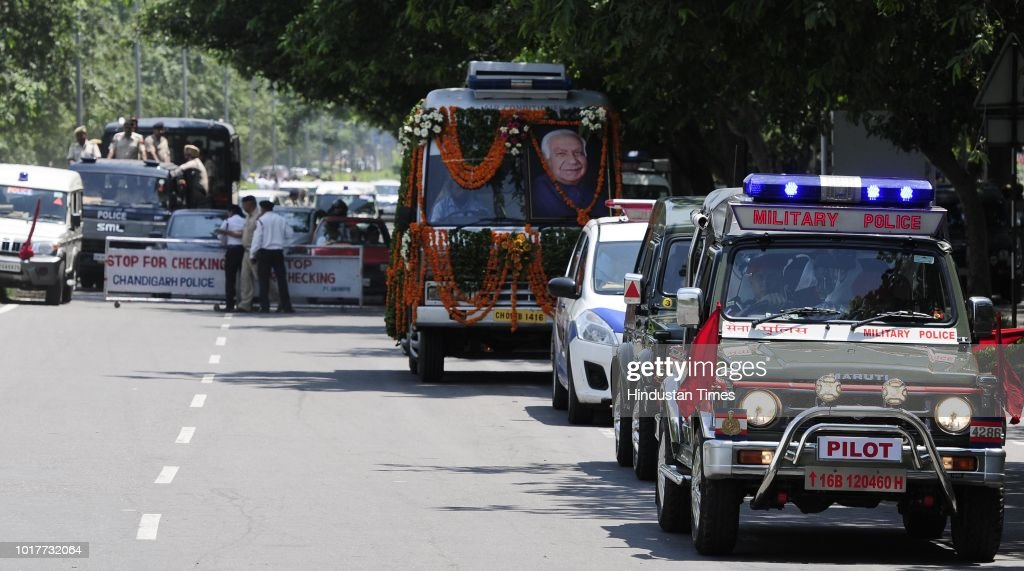 Vehicles seen outside the Punjab BJP office awaiting the mortal remains of deceased Balram Das Tandon Governor of Chhattisgarh in Sector 37 before...