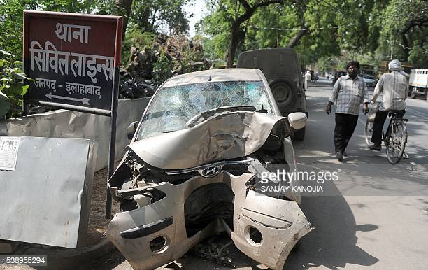 Vehicles seized following road accidents are left outside a police station in the Indian city of Allahabad on June 9 2016 India's transport ministry...