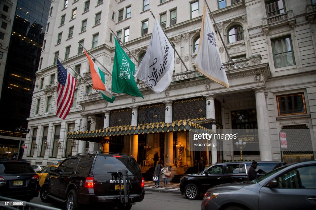 Vehicles sit in front of the Plaza Hotel in New York, U.S., on Monday, Nov. 13, 2017. Billionaire SaudiPrince Alwaleed bin Talalhas long been associated with New York's iconic Plaza Hotel, ever since he bought out Donald Trumpover two decades ago. Photographer: Michael Nagle/Bloomberg via Getty Images