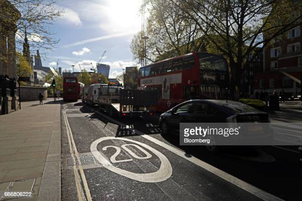 Vehicles sit in traffic in central London UK on Monday April 10 2017 London has missed by seven years legal deadlines to improve air quality and the...