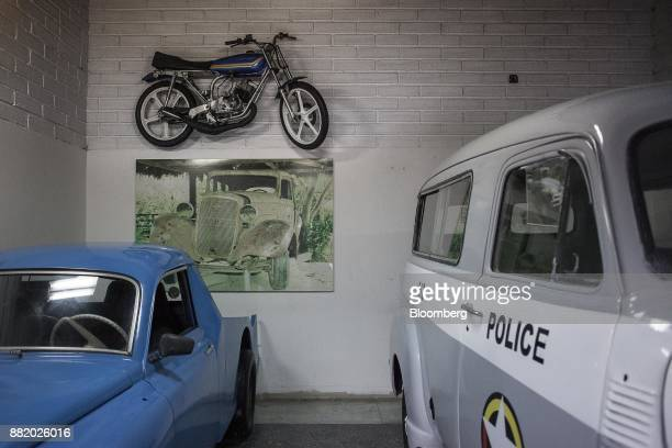 Vehicles sit on display at the Casa Museo Pablo Escobar in Medellin Colombia on Tuesday Oct 3 2017 In Colombia where more than 200000 people have...