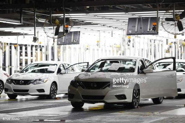 Vehicles sit on the production line during final inspections at the Nissan Motor Co manufacturing facility in Smyrna Tennessee US on Tuesday Oct 31...