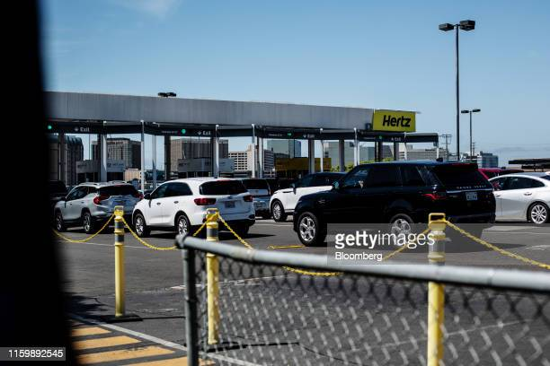 Vehicles sit parked at a Hertz Global Holdings Inc. Rental location at Los Angeles International Airport in Los Angeles, California, U.S., on Friday,...
