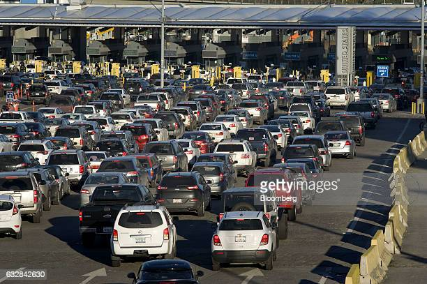 Vehicles stand in morning traffic at the San Ysidro Port of Entry for US and border crossing in Tijuana Mexico on Thursday Jan 26 2017 US President...