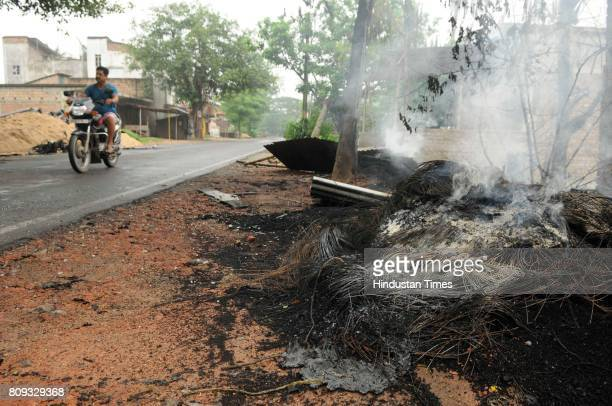 Vehicles torched in violence in Baduria after protests over an objectionable social media post on July 5 2017 in North 24 Parganas India The class XI...
