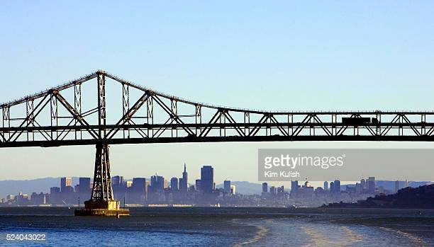 Vehicles travel across the completed seismically retrofitted Richmond-San Rafael Bridge spanning the San Francisco Bay. The 4 year project included...