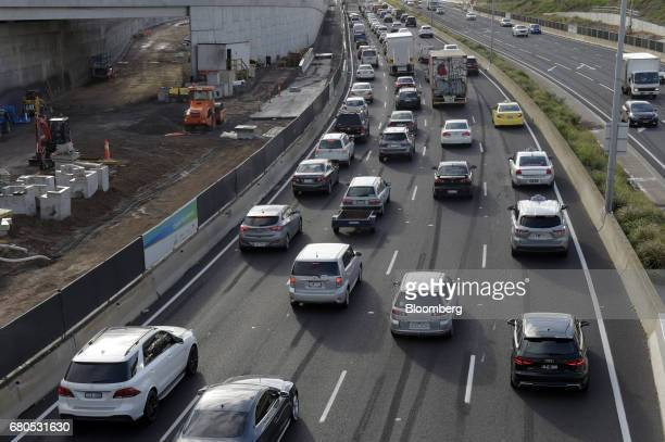 Vehicles travel along a section of the Tullamarine Freeway undergoing widening works in Melbourne Australia on Monday May 8 2017 The spread between...