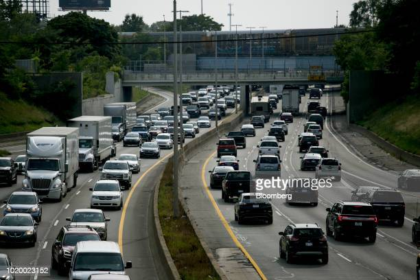 Vehicles travel along I94 freeway in Detroit Michigan US on Tuesday Aug 14 2018 Detroit ranks in the top 7 percent for traffic congestion out of the...