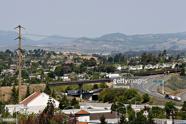Vehicles travel along Interstate 80 through Vallejo California US on Wednesday May 7 2008 Vallejo officials voted to file for bankruptcy because the...